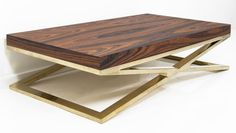 Our new Rosewood veneer combines beautifully with our fat brass X-Leg base to create this gorgeous coffee table. Deep / Wide / Tall * To inquire about custom finish options, please conta Iron Furniture, Steel Furniture, Find Furniture, Custom Furniture, Contemporary Furniture, Furniture Design, Table Furniture, Brass Coffee Table, Coffee And End Tables