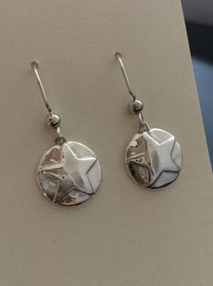 Texas Jewelry, Star Jewelry, State Necklace, Texas Star, Silver Rounds, Natural Texture, My Etsy Shop, Jewelry Making, Drop Earrings