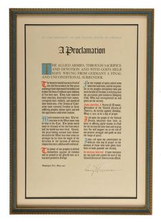 """Harry S. Truman - Autographed """"A Proclamation"""" - Framed Display - May 8, 1945"""