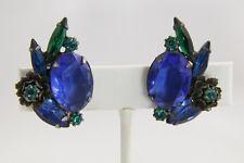 VINTAGE D&E JULIANA METAL FLOWER LARGE OVAL SHADES OF BLUE RHINESTONE EARRINGS