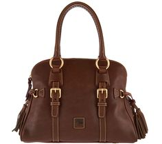 aa00a4abae Dooney   Bourke Florentine Leather Domed Buckle Satchel in Chestnut.