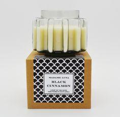 #madameluna #lunac #candles #gift #scentedcandles #blackcinnamon #designerglass Essential Oil Blends, Essential Oils, Candle Jars, Candles, Paraffin Wax, Candle Making, Fragrance, Gifts, Presents