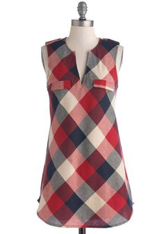 Rooftop Harvest Tunic in Red - Red, Blue, White, Plaid, Casual, Sleeveless, Rustic, Cotton, Epaulets, Fall, 90s, Red, Sleeveless, Top Rated,...