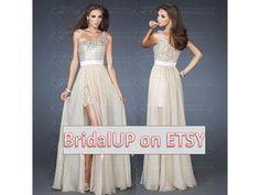 Evening Dress  Champagne OneShoulder Floor Length by BridalUp, $129.90