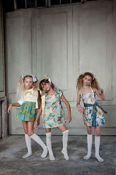 Samantha, Lola & Angelina Porcelli on right for Mon Petit in NYC July, 2013