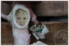 Fil À Sophie Wattefigürchen Nostalgie Cotton Batting Mushroom Toadstool Ornament, Victorian Scraps, Valentine´s Day, Heart, Love, Vintage scraps, Die cuts, Nostalgic Decoration, Spun Cotton Ornament