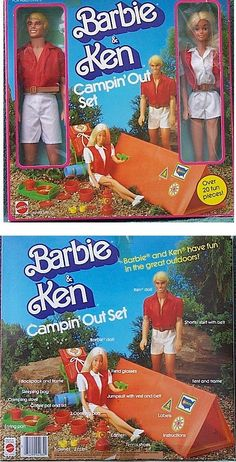 1983 Campin out Set Barbie and Ken - Front and Back of Box Ken Barbie Doll, Disney Barbie Dolls, Barbie Box, Barbie Dream, Vintage Barbie Dolls, Barbie And Ken, Barbie Clothes, Barbie Outfits, Barbie Playsets