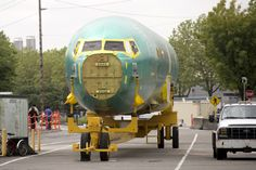 A Boeing 737 aircraft fuselage at Boeing's 737 airplane factory in Renton, Washington