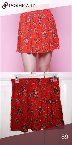Coral/red floral skater skirt Mid thigh cute flowy skater skirt. Perfect for the summer and an absolute gorgeous color and pattern. zulily Skirts Midi