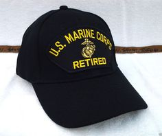 e813a8f32a6 US MARINE CORPS RETIRED (BLACK) Military Veteran Hat 76 VV  BaseballCap  Veteran Hats