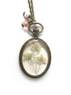 Queen Anne Lace Resin Pendant Necklace  Real by ScrappinCop, $15.00