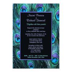 Peacock Feather Drama - Wedding Invitation. OK who doesn't love peacock art?  Really good bulk prices too.