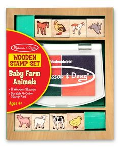 Melissa And Doug Baby Farm Animals Wooden Stamp Set Baby Zoo Animals, Traditional Toys, Stamp Pad, Melissa & Doug, Toddler Toys, Wooden Boxes, Craft Supplies, Stamps, 4 Years