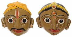 Utsav Kraft Clay Men and Women Faces Wall Hangings (32 cm x 10 cm x 20 cm, Pack of 2, UK214)