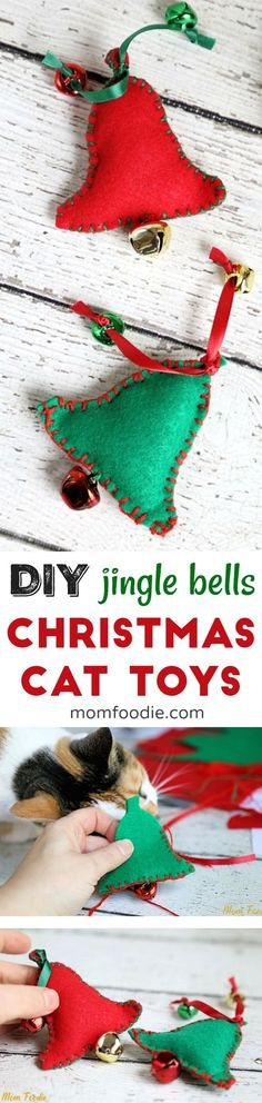 DIY Cat Toys - Homemade cat toys for Christmas in a bell shape with jingle bells. #cats #cattoys #christmas #tenderandtruepet     #ad @MomFoodie @Tenderandtrue