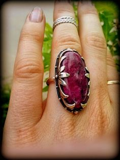 Large Red Ruby Ring with Floral Detail In Sterling Silver - Deep Red Ruby - Size 6.5