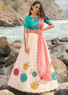 #cream #embroidery #lehenga #choli #dupatta #indianwear #traditional #outfit #beautiful #bride #new #designer #collection #ootd #wedding #time #womenswear #online #shopping Net Lehenga, Lehenga Choli, Green Satin, Black Satin, Beautiful Mirrors, Green Blouse, Cutwork, Embroidered Silk, Peach Colors
