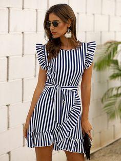 Smock Dress, Belted Dress, Dress P, Striped Dress, Shirt Dress, Frock Fashion, Fashion News, Fashion Dresses, Women's Dresses