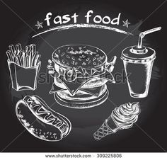 Hand drawn set of fast food - hot dog, french fries, hamburger, drink in a cardboard cup with a straw, cone with ice cream. Vector Illustration. Poster on a blackboard.