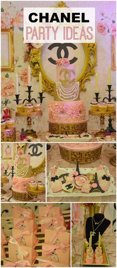 What a beautiful Chanel party with lots of floral accents! See more party ideas at CatchMyParty.com!