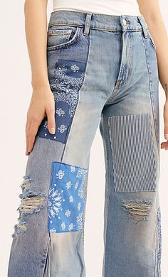 Denim Jeans, Mom Jeans, Abstract Embroidery, Patchwork Jeans, Denim Style, Free People Jeans, Crossbody Shoulder Bag, Denim Fashion, Wardrobe Staples