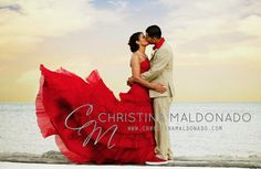 Red wedding dress - see more at http://themerrybride.org/2014/07/01/colourful-wedding-dresses-on-etsy-com/