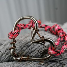 Silver heart fish hook bracelet with Pink Camo Paracord