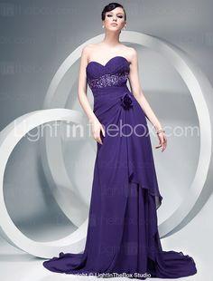 Sheath/Column Chiffon Over Elastic Silk-like Satin Evening Dress With Flowers And Court Train - US$ 199.99