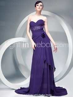 Sheath/Column Chiffon Over Elastic Silk-like Satin Evening Dress With Flowers And Court Train - US$ 199.99