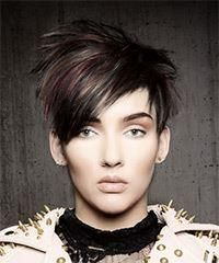 Short Straight Casual Pixie Hairstyle with Razor Cut Bangs - Dark Burgundy Brunette Hair Color – PixieFrisuren Edgy Short Hair, Edgy Hair, Short Hair Cuts, Short Hair Styles, Medium Bob Hairstyles, Short Pixie Haircuts, Pixie Hairstyles, Blonde Hairstyles, Layered Hairstyles