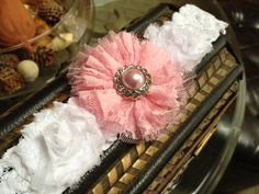 Pink Lace and Shabby Chic Flower Garter in by LolaBridalDesigns, $13.00