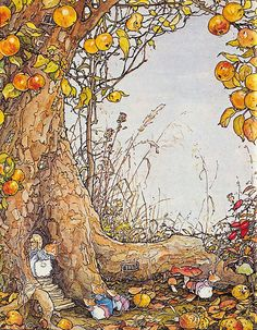 I just discovered the amazing work of Jill Barklem, author and illustrator of the Brambly Hedge books. I'm getting lost in her paintings! Art And Illustration, Book Illustrations, Fantasy Kunst, Fantasy Art, Brambly Hedge, Woodland Creatures, Beatrix Potter, Whimsical Art, Cute Art