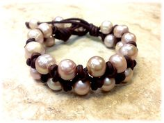 SALE  Leather and Pearl Bracelet  Pearl of Wisdom by AdiDesigns, $39.99