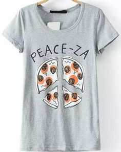 Pizza Print Loose T-shirt