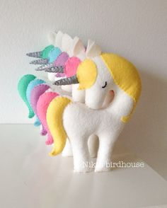 Rainbow Unicorn with silver horn Large 20cm by NikisBirdhouse