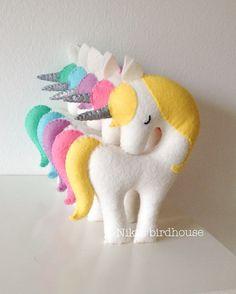 Rainbow Unicorn with silver horn Large 20cm by NikisBirdhouse