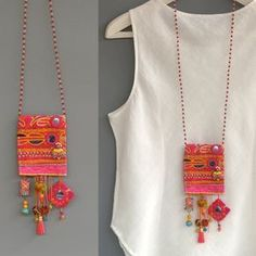 - Fabric Necklace Long Beaded Necklace Unusual Necklace Pink Necklace Gypsy Necklace Boho Necklace Hi - Hippie Style, Style Boho, Fabric Necklace, Pink Necklace, Boho Necklace, Pendant Necklace, Necklace Ideas, Necklace Designs, Textile Jewelry
