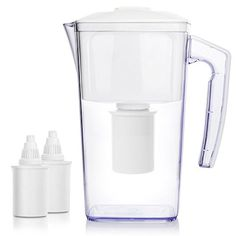 OXA 8 Cup Alkaline Water Filter Pitcher with 2 longevity Filters, 2.5L large capacity cool water bottle,BPA-Free,white