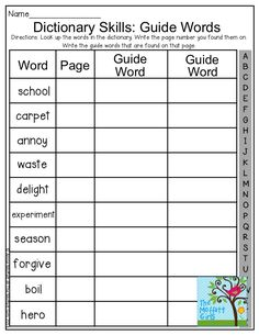 Dictionary Skills: Guide Words- Look up the given word in the dictionary, write the page number and the two guide words.