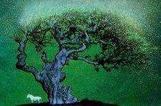Windy night. Celtis sinensis, horse, Jeju lsland,  2014 work