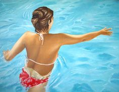 Dietmar Jäkel,Pool IV-Julia  oil | realism so precise, i want to jump in to the frame and swim too!