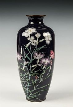 """A fine silver wire Japanese Cloisonne vase 11"""" tall from the Meiji period"""