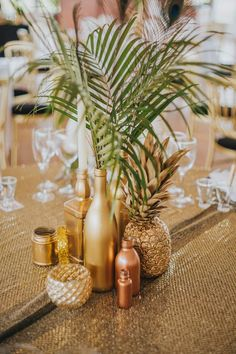 Lou and Pete's Gold Glitter and Metallic Wedding by Benjamin Stuart