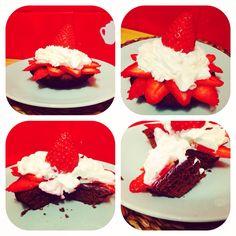 Brownie fresas y nata
