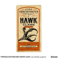 VINTAGE APOTHECARY HAWK CLAWS | HALLOWEEN LABEL