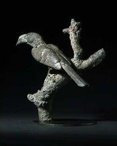 #Bronze #sculpture by #sculptor Isabelle Faucher titled: 'Piping Hornbill (Small bronze African Perched statue/statuette/figurine)'. #IsabelleFaucher