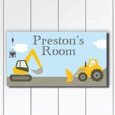 DOOR SIGN Bulldozer and Excavators by KidODesignStudio on Etsy