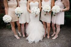 all white bouquets look so stinkin pretty with pale pink  Photography by http://jennanddavestark-portfolio.com, Floral Design by http://jackieo.ca