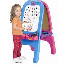 Crayola Magnetic Double Easel - Pink by Crayola. $55.20. Recommended Age: 3 years and up. Crayola Pink Magnetic Double Easel. Magnetic/Dry Erase and Chalkboard provides a large work area. Each board includes a Clip to hold paper. Surfaces are easy to wipe clean. 4 detachable storage bins for holding art accessories. Folding easel for easy storage. Product includes: Eraser, 77 Magnetic Letters & Numbers.This toy has also been evaluated by National Lekotek Center, a no...