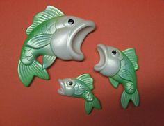 Vintage Miller Studio Chalkware Wall Plaques Shimmery Green Fish Set of 3 1972   eBay